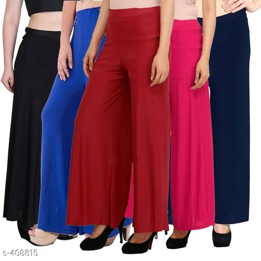 Classic Synthetic Palazzos Pack Of 5