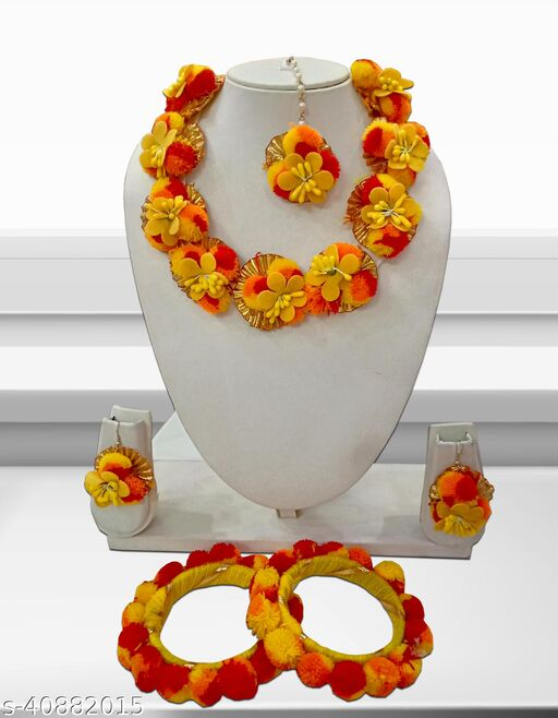 Style Secrets Beautiful Gota-Patti Floral Neckalce Set for Haldi and Other Before Marriage Functions for Bride and Bridemaids ( Includes Manngtika and Bangles )