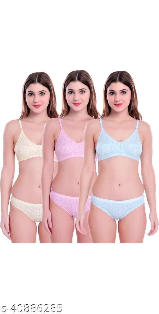 Women Polka Dot Multicolor Cotton Lingerie Set