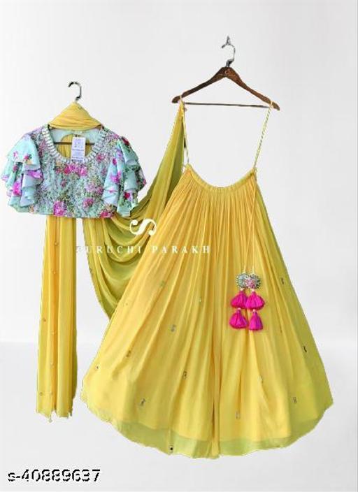 Women's Yellow & Sky Blue Georgette Embroidery Semi-Stitched Semi-Stitched Lehenga Choli