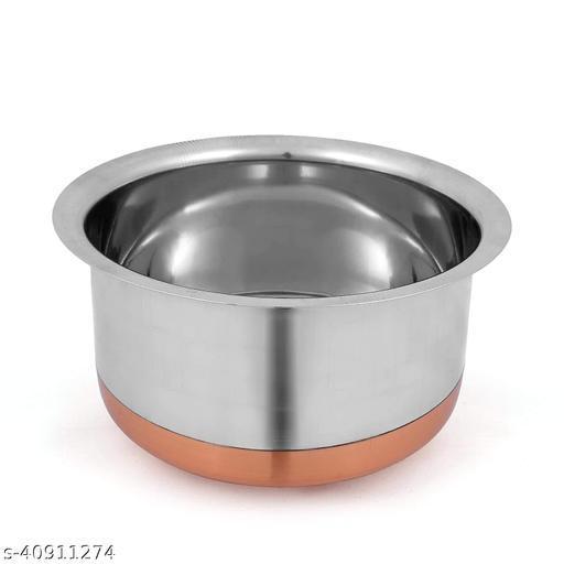 STAT HUB Copper Round Bottom Tope 2.5 L capacity 17 cm diameter  (Stainless Steel)