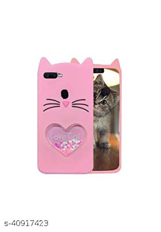 QBS Back cover for OPPO A5s (Love Cat, Grip Case , Pink )