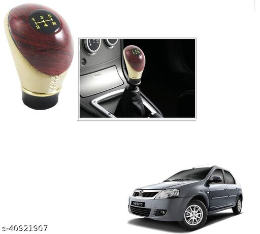 Autoaccessoriesdeal2018 CAR Leatherette Wooden Finished Autoaccessoriesdeal2018 Gear Knob Beige Autoaccessoriesdeal2018 Gear Shift knob for Mahindra Verito