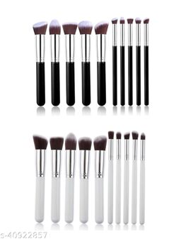 PACK OF 2 BLACK+ WHITE makeup brushes set of 10 EACH