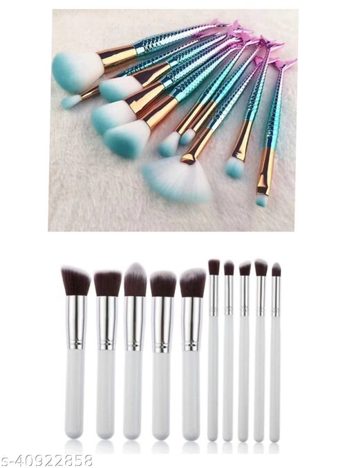 PACK OF 2 WHITE+ FISH makeup brushes set of 10 each