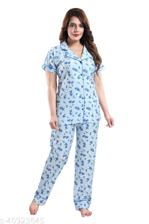 WOMENOIRE Women's Cotton Floral Printed Night Suits