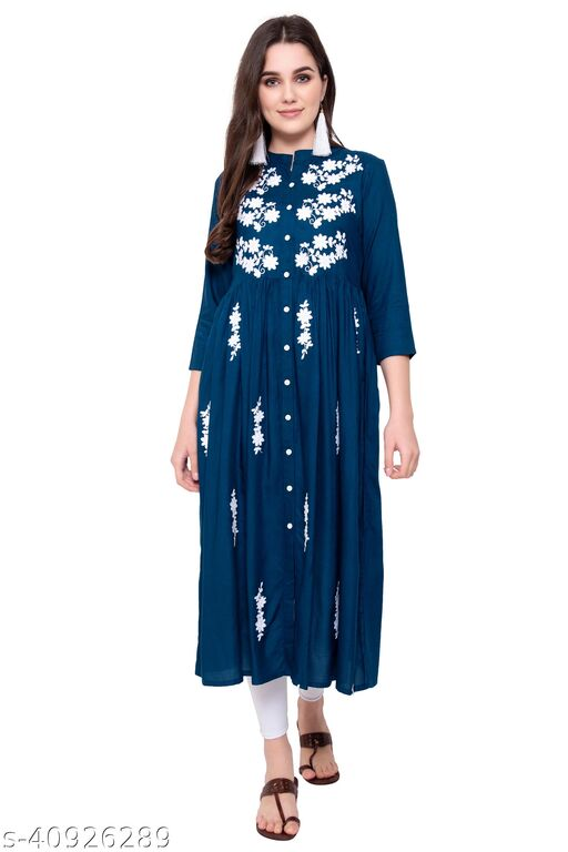 Women Embroidered Cotton Rayon Blend Flared Kurta