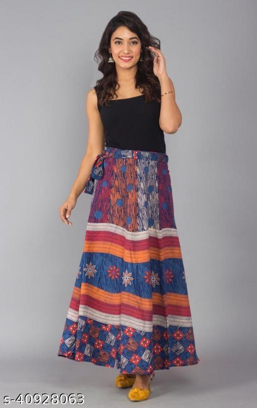 Women Self Design Wrap Around Multicolor Skirt