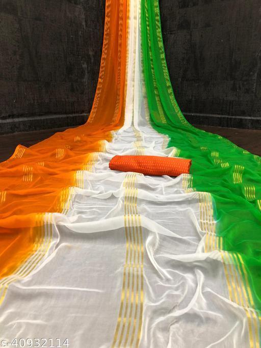 Pemal Designer Trendy Heavy Pure Chiffon Saree With Brocade Blouse Piece