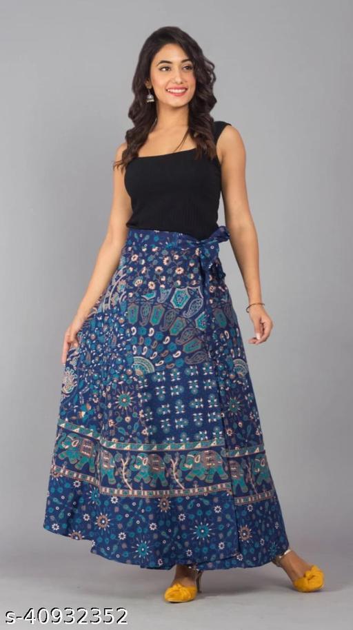 Women Floral Print Wrap Around Blue Skirt