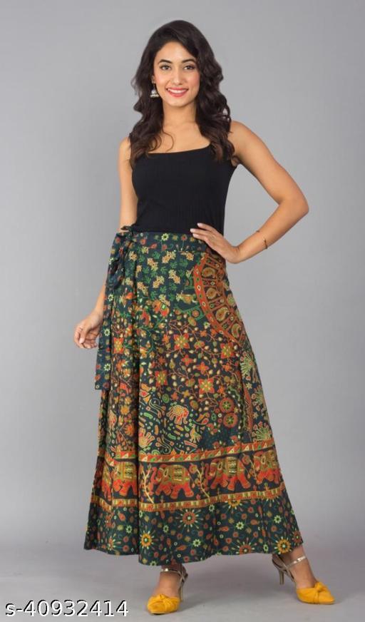 Women Self Design Wrap Around Green Skirt