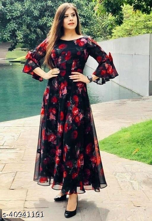 Trendy Women's Geogette With Digital Print Long Anarkali Floor Gown