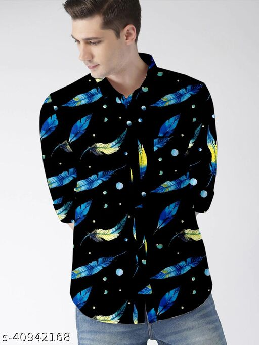 men's digital printed long sleeve trendy  cotton linen shirt
