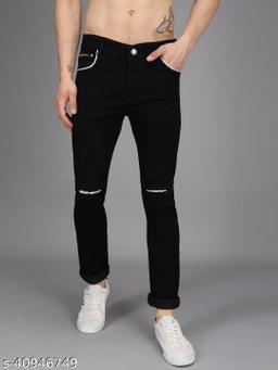 Ondra Denim Slim fit Mens Jeans Color Black