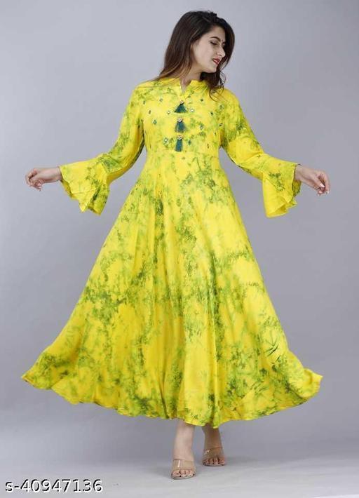 Women Printed Rayon Anarkali Kurti/kurta-Gown  (Yellow, Green)