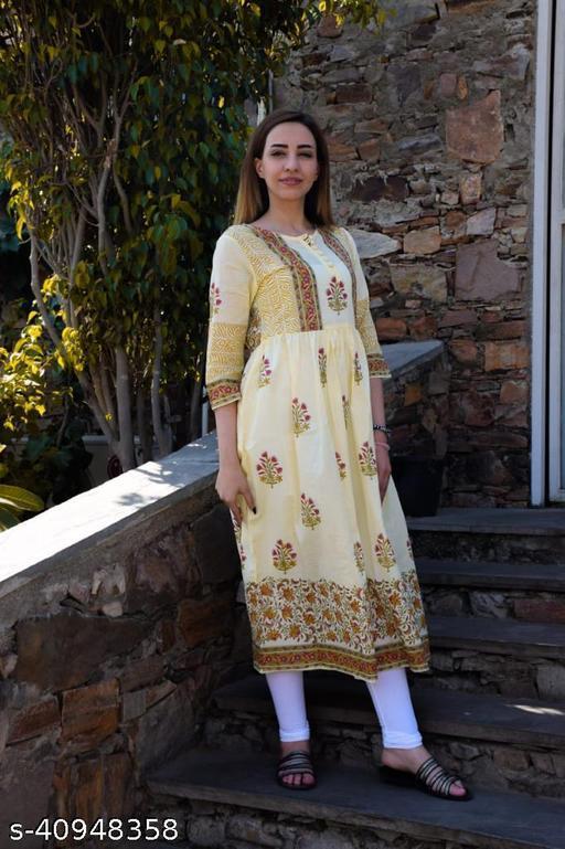 KIRTIKA TRADING COMPANY Womens Anarkali Gown In Hand Block Print In Cotton Dobi (YELLOW)