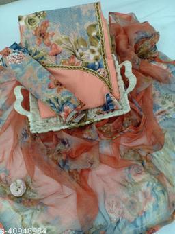 Tulip Prints Women's Peach Cotton Printed Unstiched Dress Material