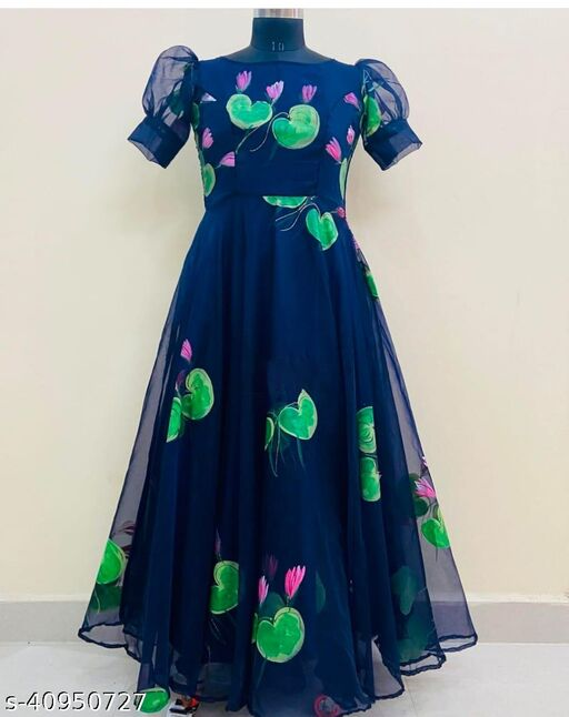 MAJESTY BLUE COLORED PARTYWEAR PRINTED GEORGETTE GOWN
