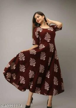 RUDRA WINE COLOR KURTI WITH FLOWER PRINT