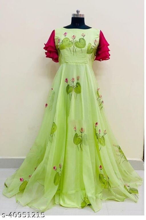 MAJESTY  COLORED PARTYWEAR PRINTED GEORGETTE GOWN