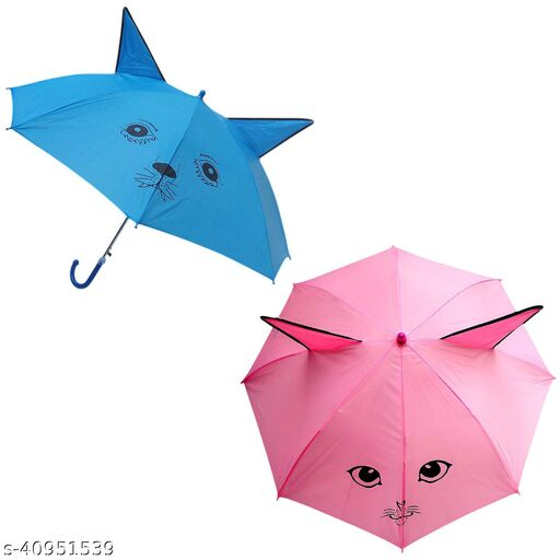 IGNOTO Combo pack of Umbrella for Kid's/Boys & Girls || Ear Shape Animal Design Small Size Polyester Umbrella with Whistle (Assorted Color))