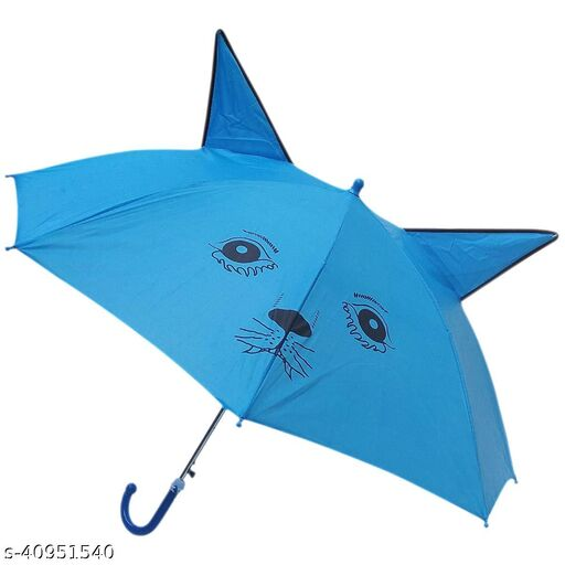 IGNOTO Umbrella for Kid's/Boys & Girls || Ear Shape Animal Design Small Size Polyester Umbrella with Whistle (Assorted Color))