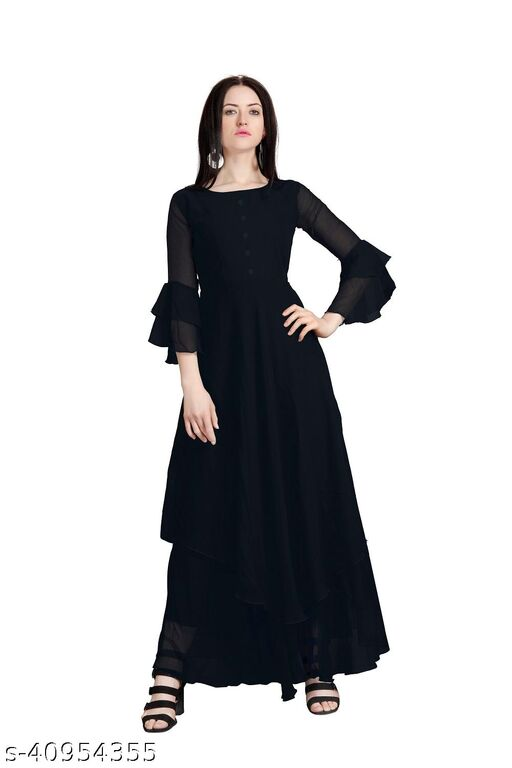 Black Color Full Flared Stylished Long Gown For Women