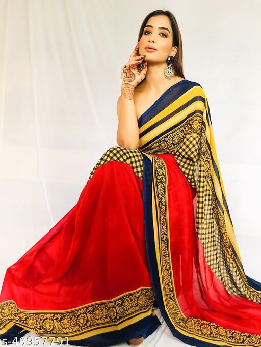 Daily Wear georgette Saree with blouse piece
