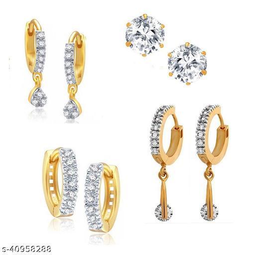 American Diamond AD Light Weight Small Earrings Simple Tops Earrings Small Bali For Party Wear Daily Wear Matching Earrings For Girls Women. Cubic Zirconia Brass Stud Earring