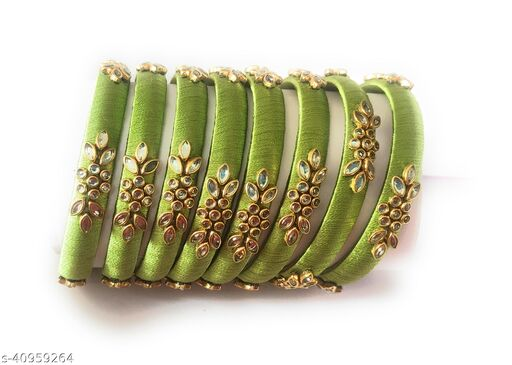 """Ethnic Silk Thread Bangle Set For Girls And Women ( """"Pack of 8 """")"""