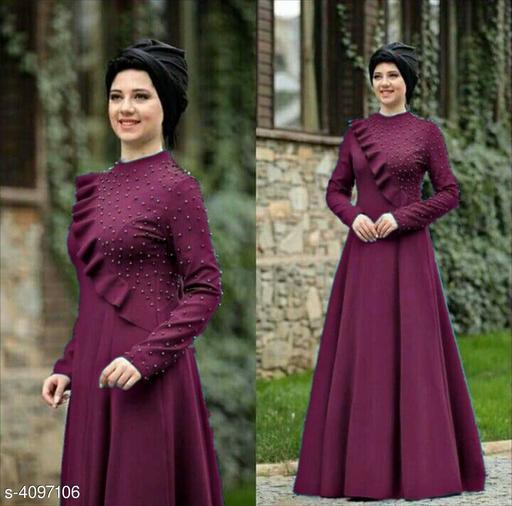 Women's Solid Purple Rayon Dress