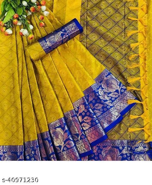 Rose Desing Cottan Silk Saree (yellow blue)
