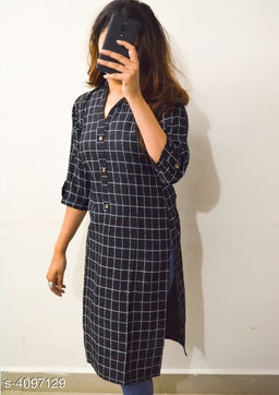 Women's Printed Black Cotton Linen Kurti