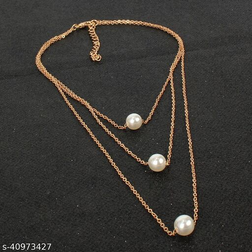 Womens Golden & Silver Pearl Chain Multilayer Necklace (Gold, Silver)