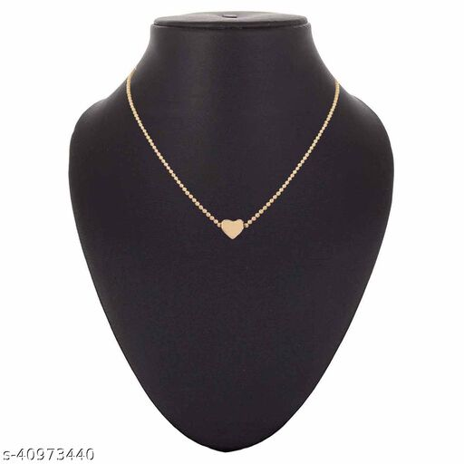 Womens Golden Beads Chain Heart Necklace (Gold)