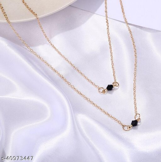 Womens Golden & Black Beads Two Layer Necklace (Gold, Black)
