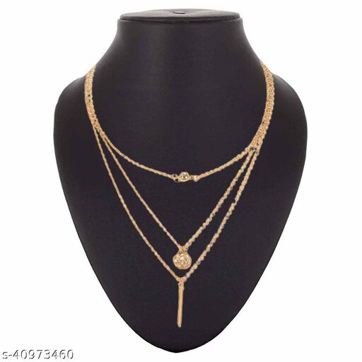 Womens Golden Geometric Ball Three Layer Chain Necklace (Gold)