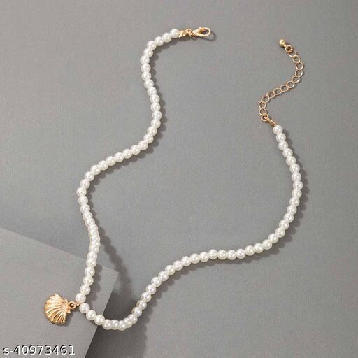 Womens Golden Pearl Shell Layered Necklace (Gold, Silver)