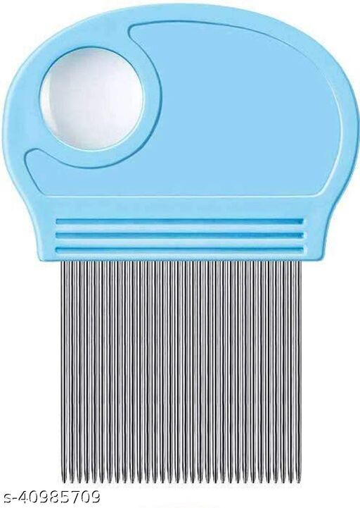 Alexvyan Super Fine Metal Teeth| Stainless Steel| Plastic Handle | Magnifier Lens | Head Lice| Nit & Egg| Easy to Use| Reusable Comb for School Kids & Women (Blue)