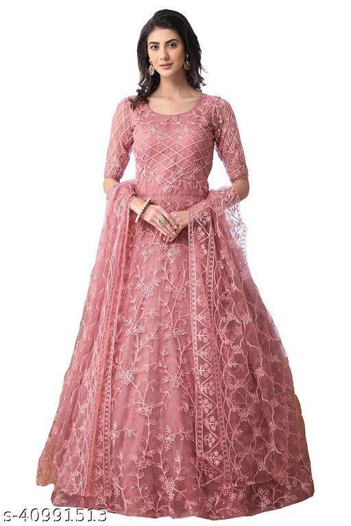 Jesani Creation trendz Women's Gown Pink