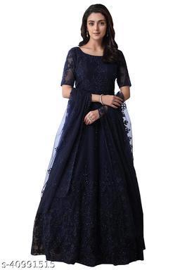 Jesani Creation trendz Women's Gown Neavy Blue