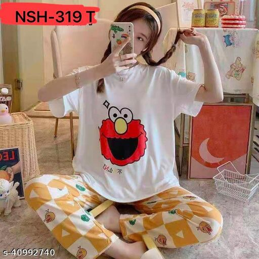 Camey Women Printed Nightsuit (NSH-319-T)