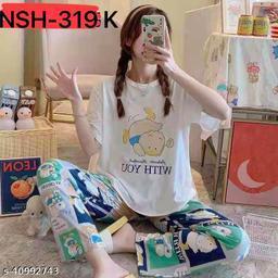Camey Women Printed Nightsuit (NSH-319-K)