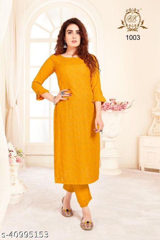 Fashion Store Women's Special Pure Rayon Kurti With Very Attractive Tone To Tone Thread And Sequence Work.