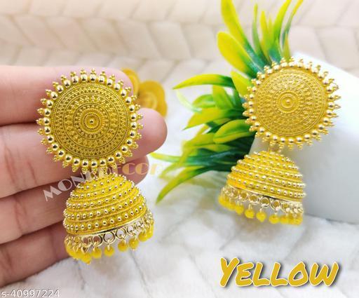 Latest Collection Kundan Jhumka earrings for Girls and Woman (Yellow Color)