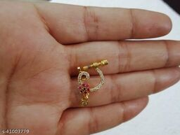 Designer AD gold plated non-piercing screw press nosepin/baser/nose pin / nath for woman and girls