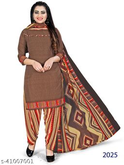 Fashion and Lifestyle Women's Cotton Slub Khatli Work Unstitched Salwar Suit Dress Material