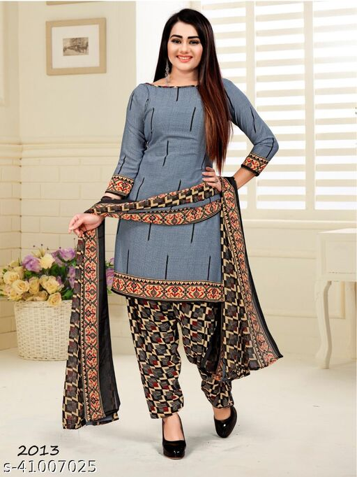 Women's Creap Printed Unstitched Salwar Suti Dress Material