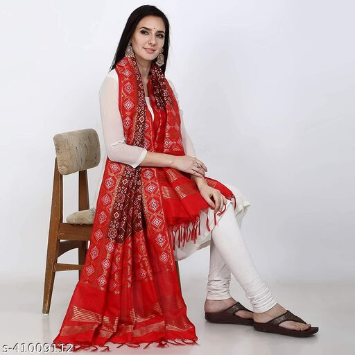 Deetya Arts Patola Design Heavy Jecquard Dupatta/Chunni The pretty look and comfortable feel of this dupatta will make it your favorite tag along accessory.