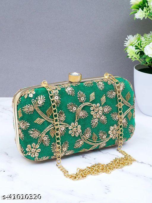 Craftszone womens Green attaractive Embellished clutches